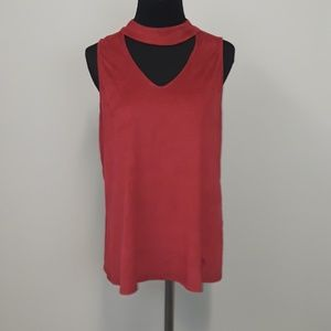 Mac and me red choker top size Large